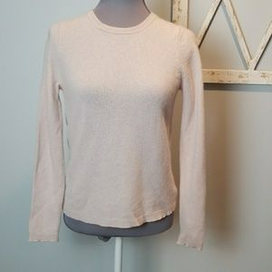 pink TAHARI pure luxe 100% cashmere crew neck